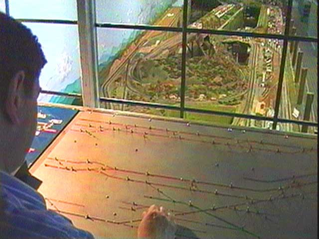 Climb up into the control room to see how all of the trains are routed along 5,000 feet of tracks.