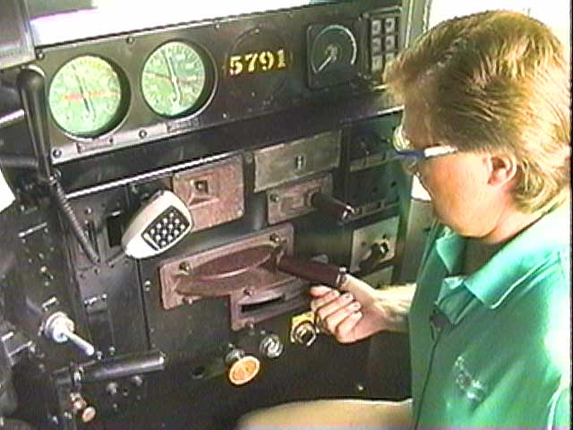 TTI Railroad engineer Jon Branton takes you up in the cab to show you all of the controls.