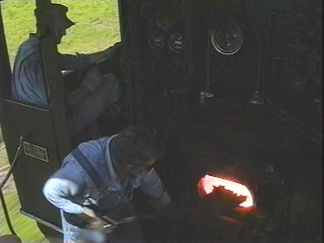 Ride up in the cab and watch the coal firing as the train rumbles down the rails.
