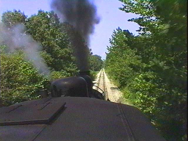 A camera is mounted on the roof to get a dramatic view of Old #152 chugging down the tracks.
